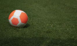 Orange football soccer green grass with player background copy-space Stock Image