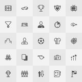 Football / Soccer Icon Set. Line Art Vector Stock Photo