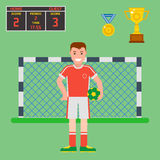 Football soccer icons player trophy competition game score win play flat design sport vector illustration. Football soccer icons player trophy competition web Stock Photo