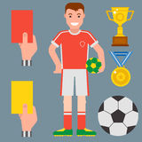 Football soccer icons player trophy competition game score win play flat design sport vector illustration. Football soccer icons player trophy competition web Royalty Free Stock Images