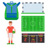 Football soccer icons player trophy competition game score win play flat design sport vector illustration. Football soccer icons player trophy competition web Stock Image