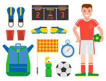 Football soccer icons player trophy competition game score win play flat design sport vector illustration. Football soccer icons player trophy competition web Stock Photos