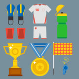 Football soccer icons player trophy competition game score win play flat design sport vector illustration. Football soccer icons player trophy competition web Stock Photography