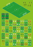 Football and soccer infographic set. Set for football-soccer isometric infographics. 144 figures. 32 national teams. Home and away uniforms. Goalkeepers stock illustration