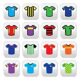 Football or soccer jerseys colorful buttons set. Vector buttons set of jerseys of football players isolated on white Stock Images