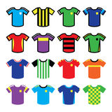 Football or soccer jerseys colorful icons set Royalty Free Stock Images
