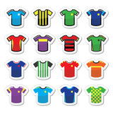 Football or soccer jerseys colorful icons set Royalty Free Stock Photography