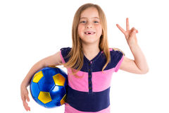 Football soccer kid girl happy player with ball Stock Images