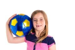 Football soccer kid girl happy player with ball Stock Photos