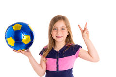 Football soccer kid girl happy player with ball Royalty Free Stock Image