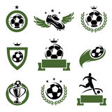 Football and soccer labels and icons set. Vector. Football and soccer labels and icons set royalty free illustration