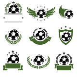 Football and soccer labels and icons set. Vector Stock Photo
