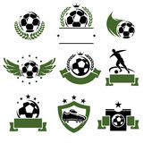 Football and soccer labels and icons set. Vector Royalty Free Stock Images
