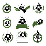 Football and soccer labels and icons set. Vector Stock Images