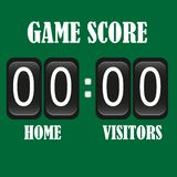 Football Soccer Lacrosse black Scoreboard on green background. vector illustration