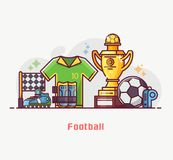 Football and Soccer Lifestyle Equipment Royalty Free Stock Photo