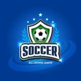 Football Soccer logo. Football badge design template, sport logotype.Themed T shirt. Isolated Vector illustration. Football Soccer logo. Football badge design Stock Photos
