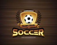 Football Soccer logo on dark wood background. Football badge design template, sport logotype.Themed T shirt. Vector format. Football Soccer logo on dark wood Stock Photography