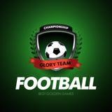 Football Soccer logo. Football badge design template, sport logotype.Themed T shirt. Isolated Vector illustration.  Stock Image