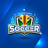 Football Soccer logo with golden cup. Football badge design template, sport logotype.Themed T shirt. Vector format. Football Soccer logo with golden cup Royalty Free Stock Photography