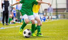 Football Soccer Match for Children. Kids Playing Soccer Game Stock Photos