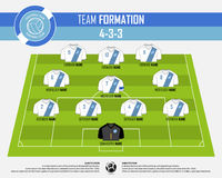 Football or soccer match formation infographic. Soccer jersey and football player position on football pitch. Flat football logo. Stock Images