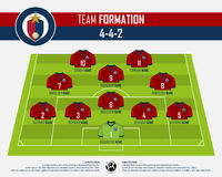 Football or soccer match formation infographic. Soccer jersey and football player position on football pitch. Flat football logo. Football or soccer match Royalty Free Stock Photography