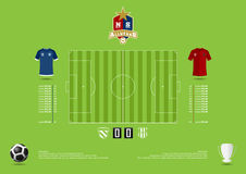 Football or soccer match statics infographic. Football formation tactic. Football logo. Flat design. Vector Royalty Free Stock Photography