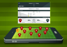 Football or soccer match statics infographic. Football formation tactic. Vector Royalty Free Stock Images