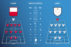 Football or soccer match statistics infographic. Flat design. Vector Illustration. Royalty Free Stock Photo