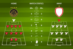 Football or soccer match statistics infographic. Flat design. Vector Illustration. Stock Images