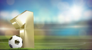 Football soccer number 1. 3D render Stock Photos