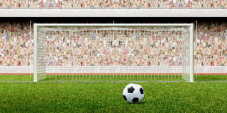 Football soccer penalty in the stadium. Football - soccer penalty in the stadium full of people 3d illustration Royalty Free Stock Image