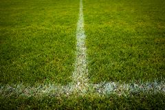 Football/soccer pitch. Sport grounds concept - Football/soccer pitch (color toned image Royalty Free Stock Photos