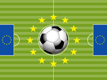 Football Soccer pitch and european flag Stock Image