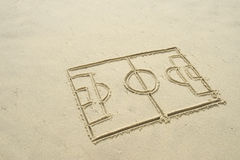 Football Soccer Pitch Line Drawing in Sand. Simple line drawing of football soccer pitch in sand on Brazilian beach Stock Images