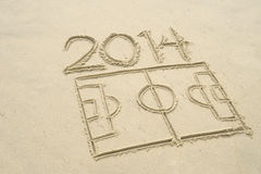 Football Soccer Pitch 2014 Line Drawing in Sand. Simple line drawing of 2014 football soccer pitch in sand on Brazilian beach Royalty Free Stock Photo