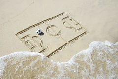 Football Soccer Pitch Line Drawing in Sand Royalty Free Stock Photos