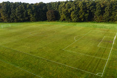 Football (soccer) pitch. View of a football (soccer) pitch from above stock photo