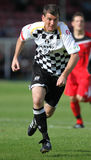 Football Soccer Player. Chris Llewellyn of Neath Athletic is seen in action during their Welsh Premier League match against Bala Town at The Gnoll Stadium, Neath Stock Photography