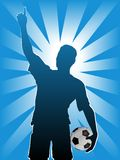 Football Soccer Player Ball. A football soccer player is number one holding a ball in a radiant background. Celebration concept stock illustration