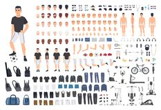 Football or soccer player creation kit. Bundle of man`s body parts, poses, sports clothes, exercise machines isolated on. White background. Front, side and back stock illustration