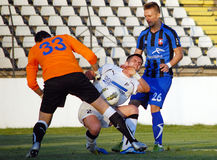 Football or soccer player effort. Football player pictured in action during the Romanian League One game between Sportul Studentesc and Otelul Galati held on Royalty Free Stock Photos