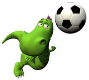 Football - soccer player flyind head - baby dragon Royalty Free Stock Photo