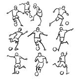 Football or Soccer Player Motion Sketch Studies Royalty Free Stock Photography