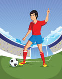 Football soccer player is number one in a stadium background. Celebration concept Stock Image