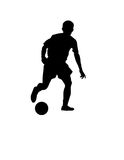 Football soccer player silhouette. With ball isolated Stock Photography