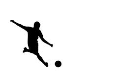 Football soccer player silhouette. With ball isolated Royalty Free Stock Images