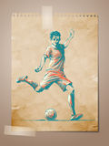 Football, Soccer Player Sketch on Aged Note Pape Royalty Free Stock Photography