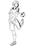 Football soccer player training. Illustration,logo,ink,black and white,outline, on a white Royalty Free Stock Photo